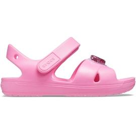 Sandale pentru copii Crocs Classic Cross Strap Charm roz 206947 669