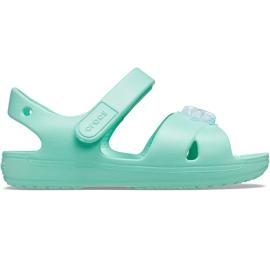 Sandale pentru copii Crocs Classic Cross Strap Charm mint 206947 3U3 verde