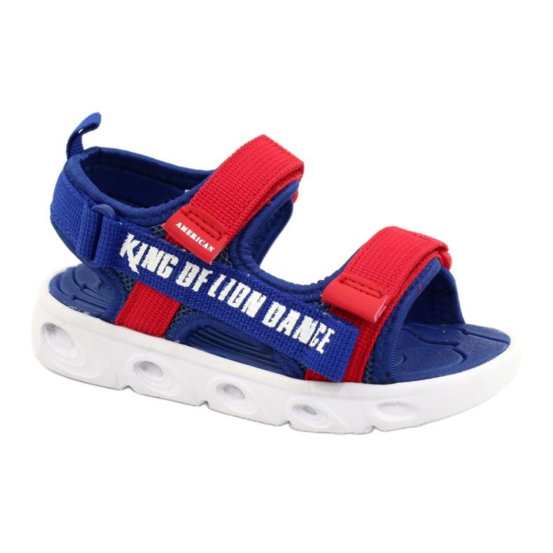 American Club Sandale albastre pentru băieți cu velcro RL27 / 21 roșu albastru
