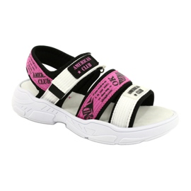 American Club Sandale sport Insert din piele RL29 / 21 Black-Fuxia alb negru roz