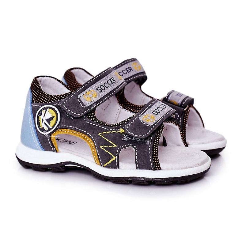 EVE Sandale de fotbal gri pentru copii, cu velcro multicolor