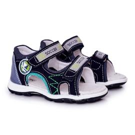 EVE Sandale de fotbal bleumarin pentru copii, cu velcro albastru marin multicolor