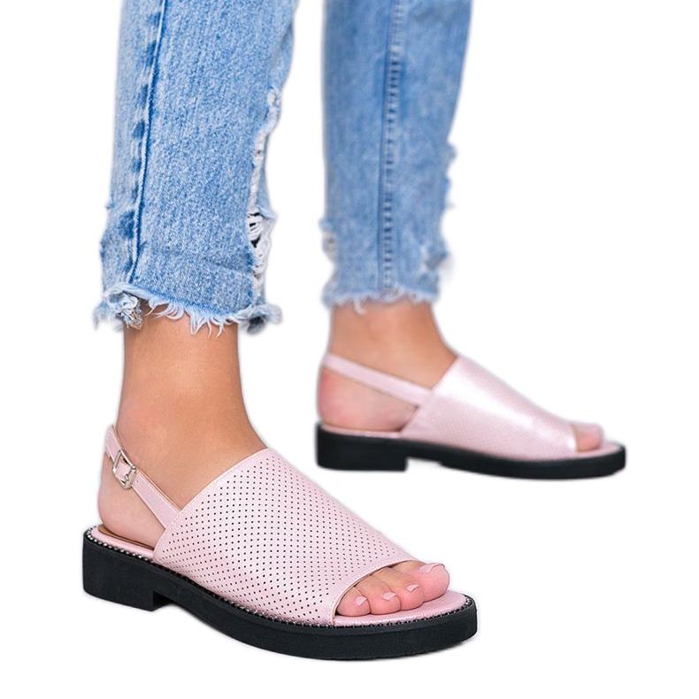 Sandale cu toc plat roz de la Betsy
