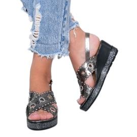 Sandale cu toc metalic gri lun