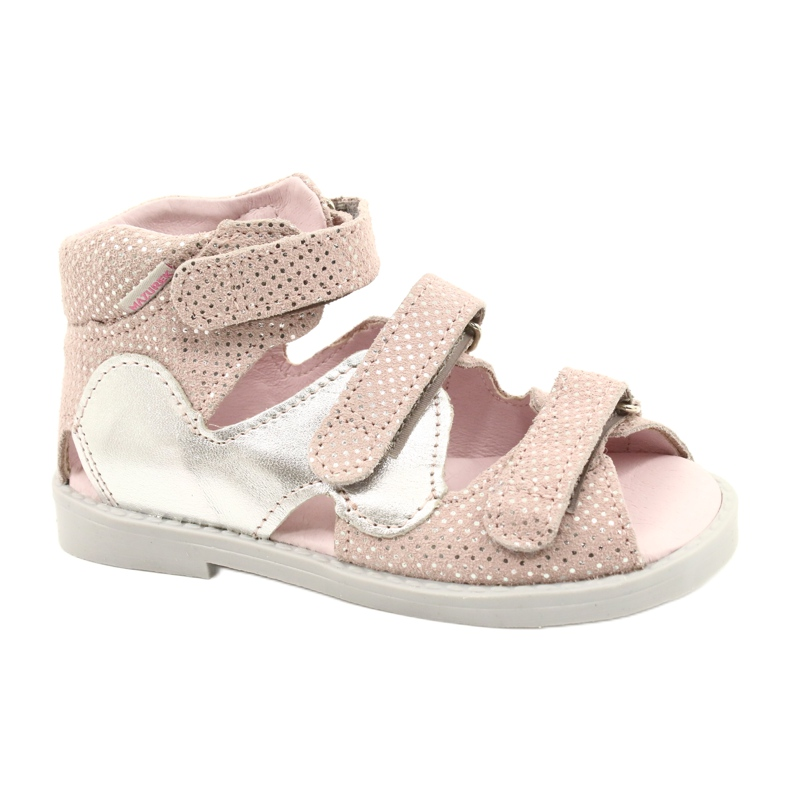 Sandale profilactice înalte Mazurek 291 roz-argintiu