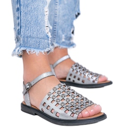 Sandale metalice gri cu știfturi Luxy