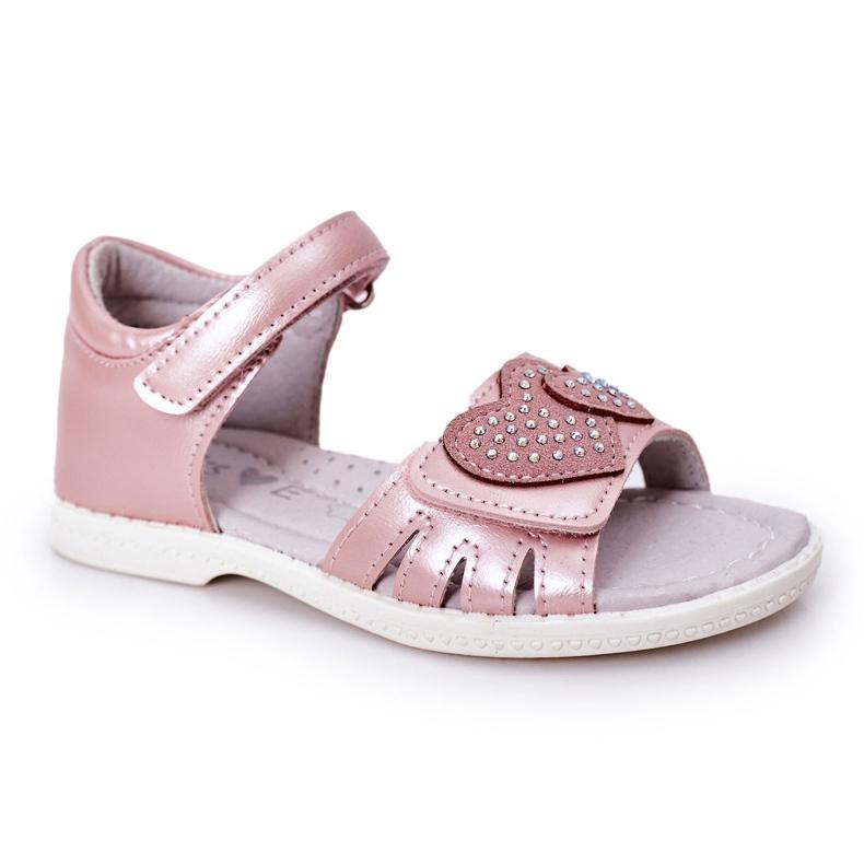 PE1 Sandale pentru copii cu velcro roz inima mea