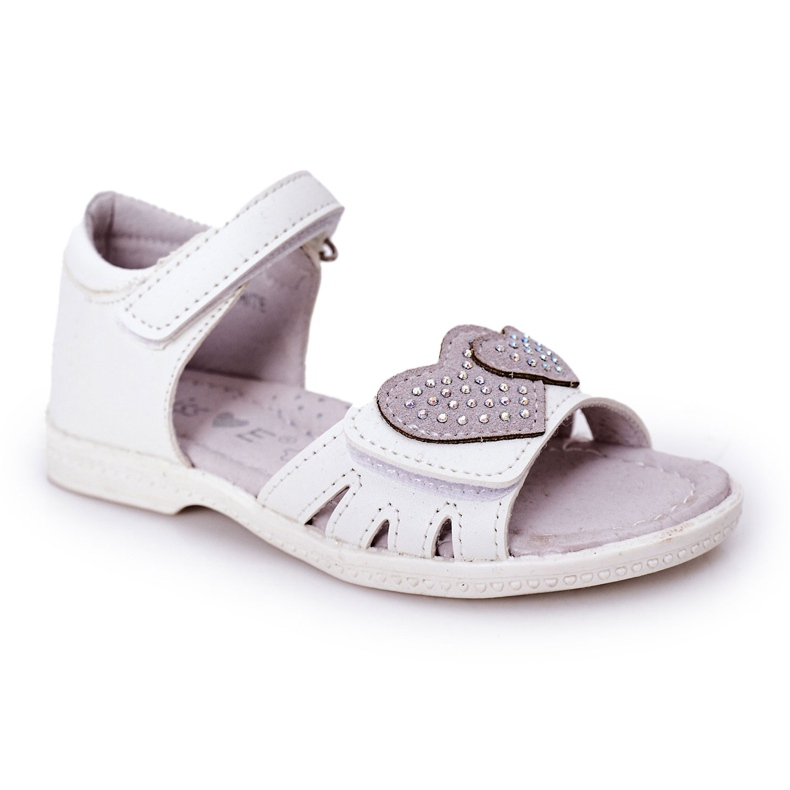 PE1 Sandale albe pentru copii cu velcro inima mea