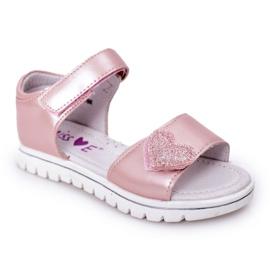 PE1 Sandale pentru copii cu velcro roz dulce