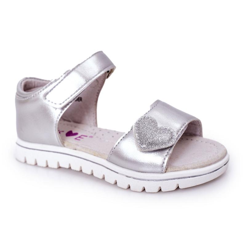 PE1 Sandale pentru copii cu Velcro Sweetheart Silver argint