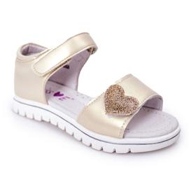 PE1 Sandale pentru copii cu velcro auriu dragă de aur