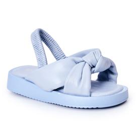 FR1 Sandale pentru copii cu gumă cu bule albastre cu nervuri albastru