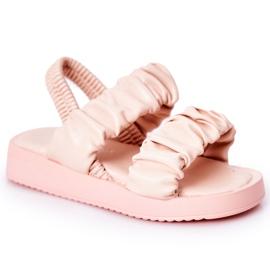FR1 Sandale pentru copii cu dulceață roz cu nervuri