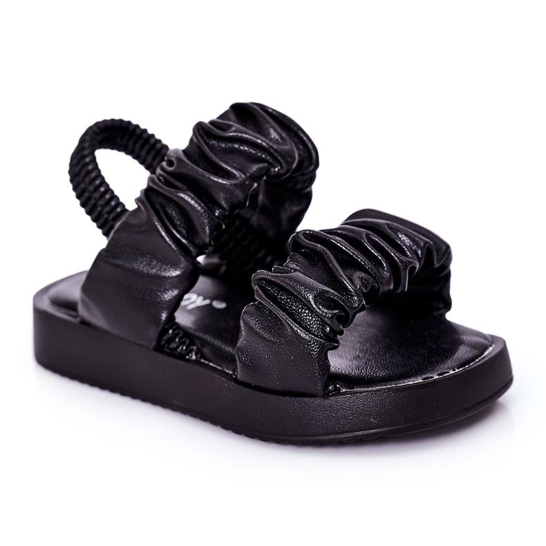 FR1 Sandale pentru copii cu dulceață neagră cu nervuri negru