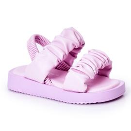 FR1 Sandale pentru copii cu dulceață violet cu nervuri