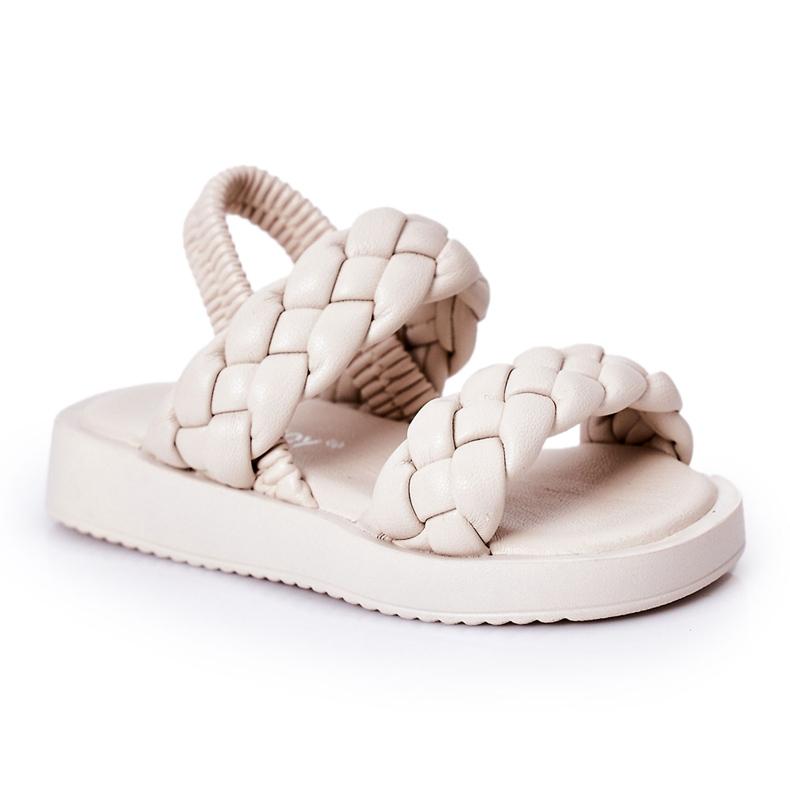 FR1 Sandale pentru copii cu cutie-plăcintă bej cu nervuri