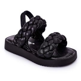 FR1 Sandale pentru copii cu cutie-plăcintă neagră cu nervuri negru