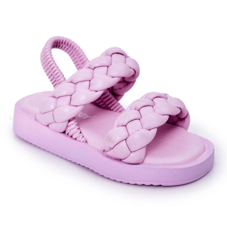 FR1 Sandale pentru copii cu cutie-plăcintă violet cu nervuri