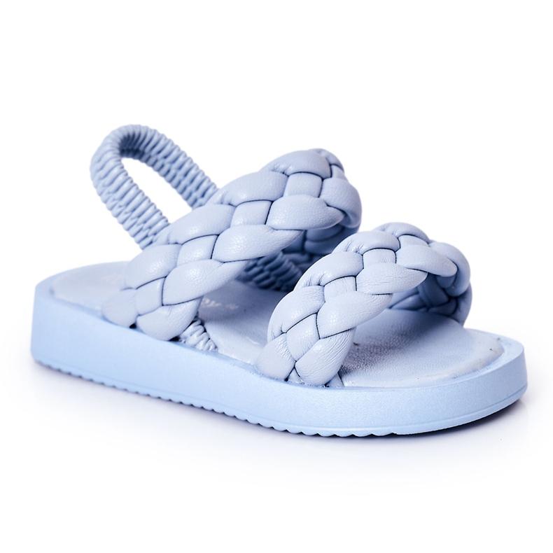 FR1 Sandale pentru copii cu cutie-plăcintă albastră cu nervuri albastru