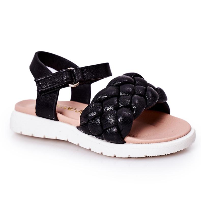 FR1 Sandale pentru copii cu Adella neagră împletită negru