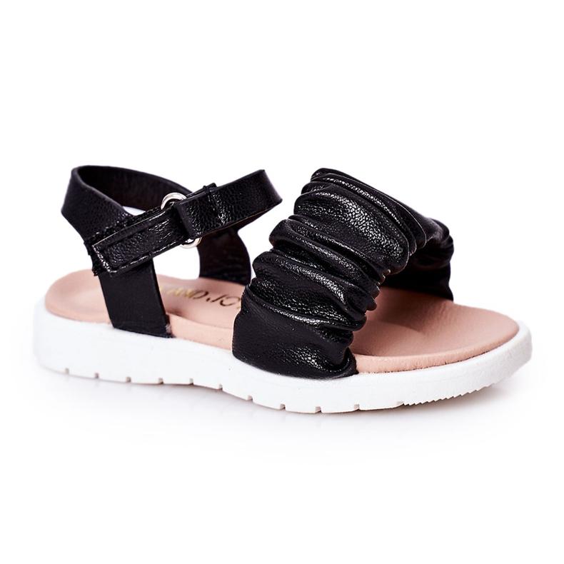 FR1 Sandale negre pentru copii, cu velcro negru
