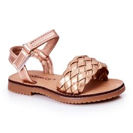 FR1 Sandale pentru copii cu Bailly din aur roz împletit de aur