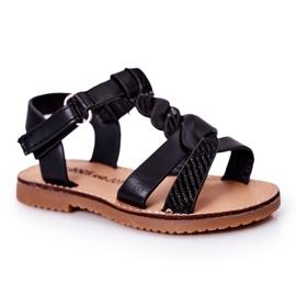 FR1 Sandale pentru copii cu brocart negru Batilda