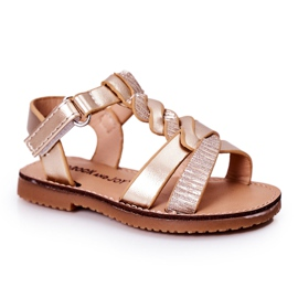 FR1 Sandale pentru copii cu brodat Golden Batilda de aur