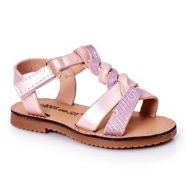 FR1 Sandale pentru copii cu brodat roz Batilda