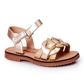 FR1 Sandale pentru copii cu model de șarpe Golden Baxlee de aur