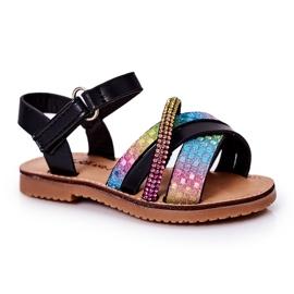 FR1 Sandale pentru copii cu paiete Black Becky negru multicolor