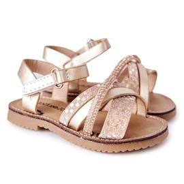 FR1 Sandale pentru copii cu paiete Golden Becky de aur