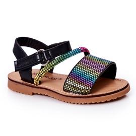 FR1 Sandale pentru copii cu paiete Black Blake negru multicolor