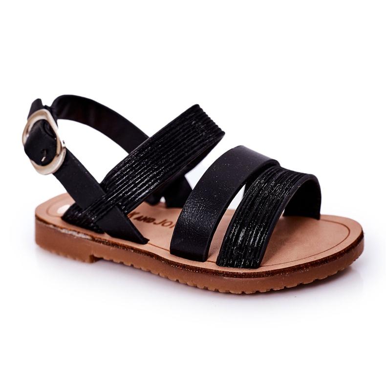 FR1 Sandale negre Natalie Shiny pentru copii negru