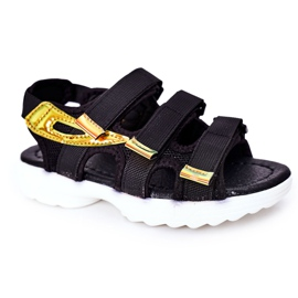 Sandale sport pentru copii cu Velcro Black Flyn negru