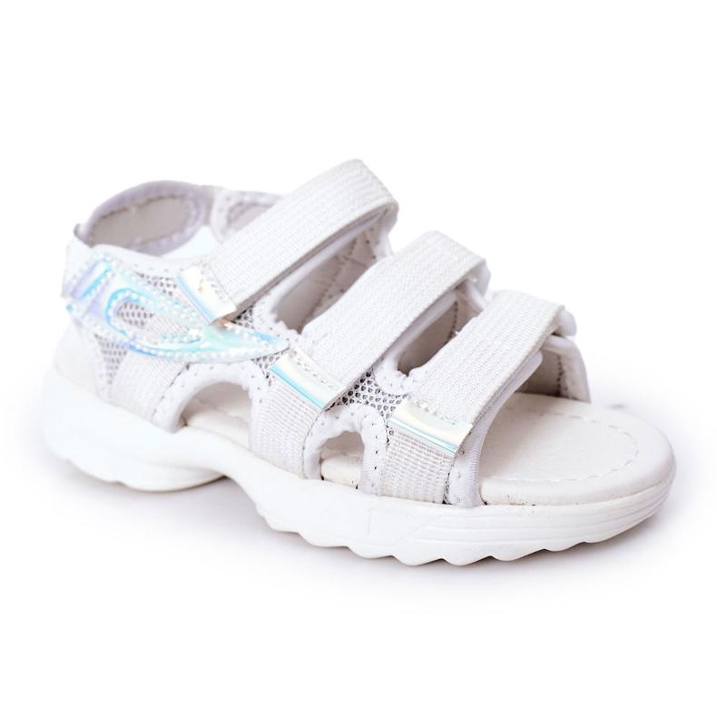 Sandale sport pentru copii cu velcro alb Flyn