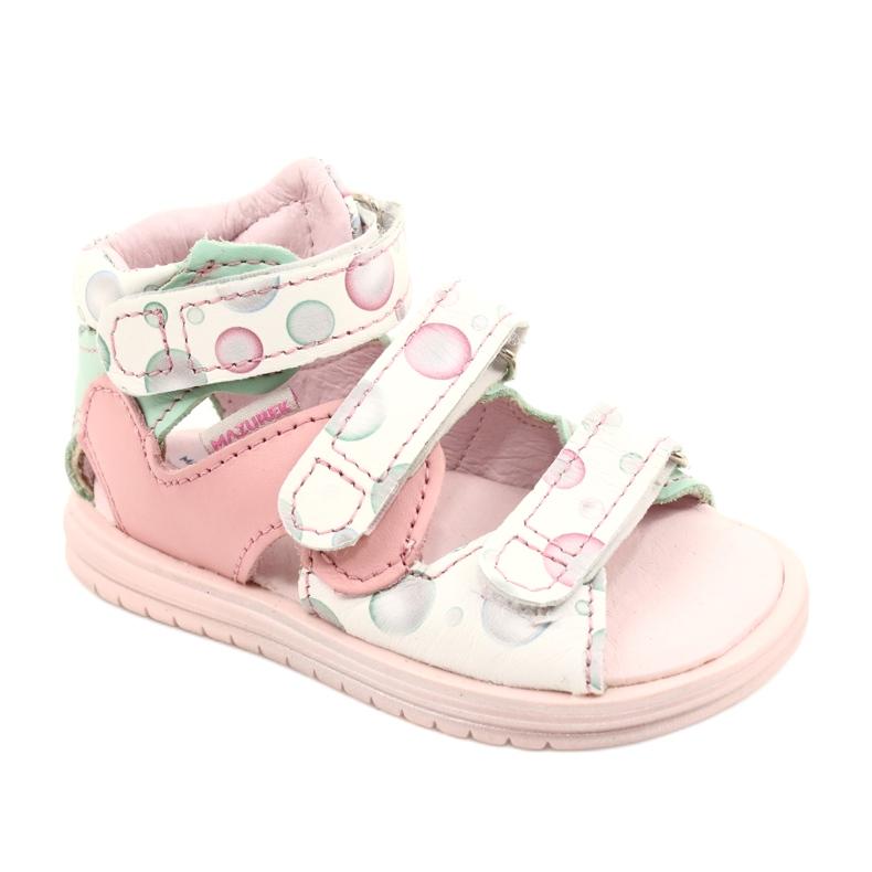 Sandale profilactice înalte Mazurek 1291 alb roz verde
