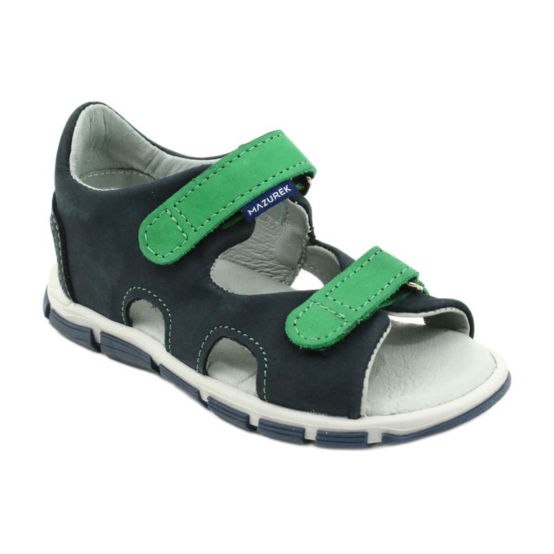 Sandale cu velcro Mazurek 314 bleumarin albastru marin verde