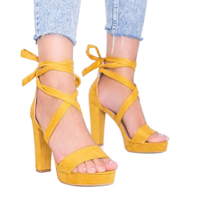 Sandale cu dantelă muștar Ginny galben