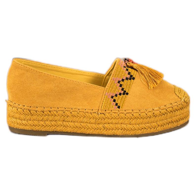 Coura Espadrile din piele de căprioară cu franjuri galben
