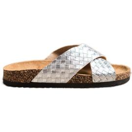 Bona Papuci comode cu piele ecologică argint