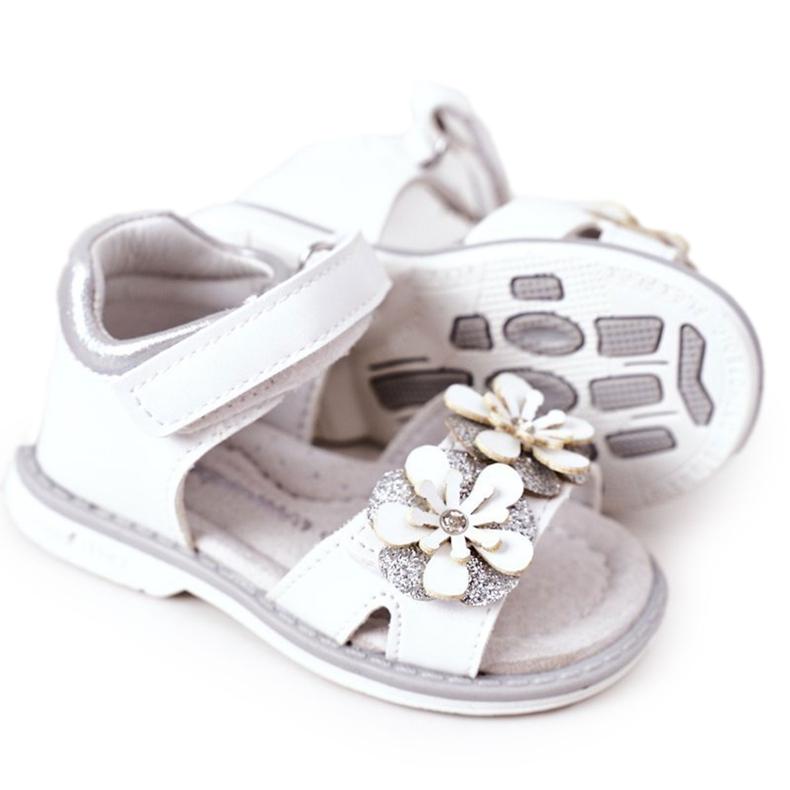 Apawwa Sandale pentru copii cu velcro alb Maysa