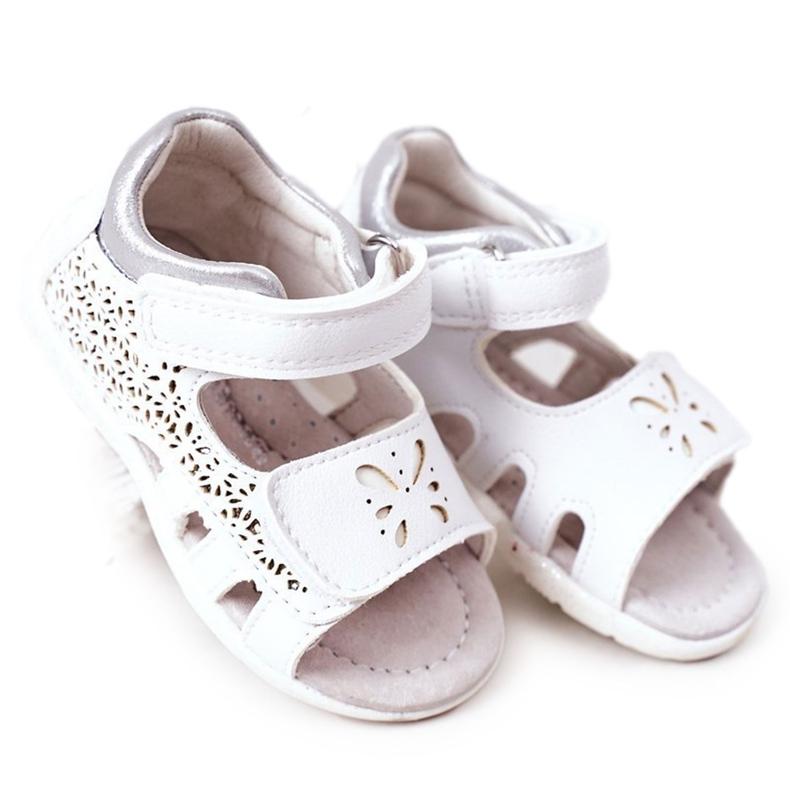 Apawwa Sandale din piele pentru copii cu velcro alb Meera
