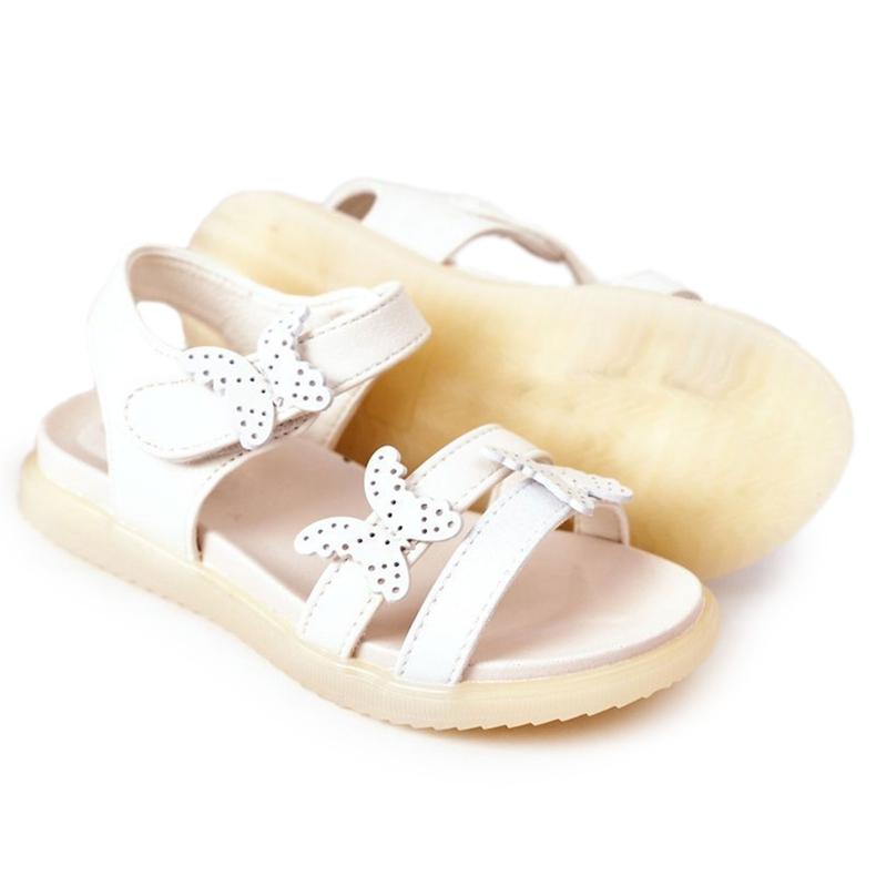 Apawwa Sandale pentru copii cu fluturi Velcro alb Malvika