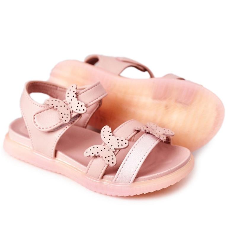 Apawwa Sandale pentru copii cu velcro fluture roz Malvika