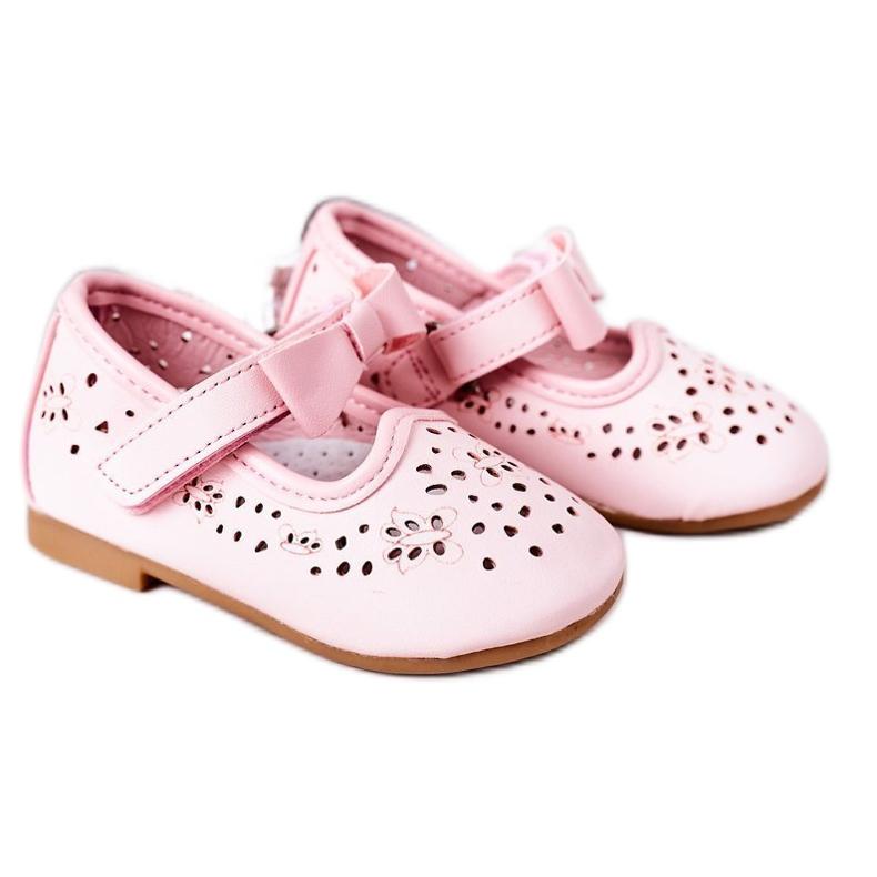 Apawwa Balerini din piele pentru copii cu velcro roz Mireia