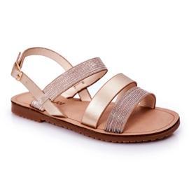 FR1 Sandale strălucitoare pentru copii Rose Gold Natalie de aur