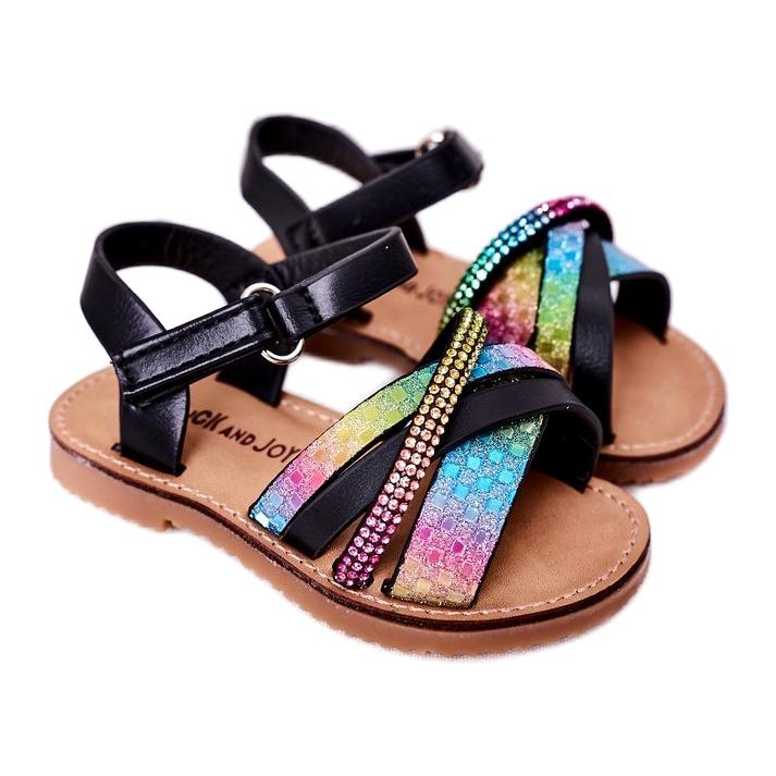 FR1 Sandale pentru copii cu paiete Black Becky negru albastru roz verde