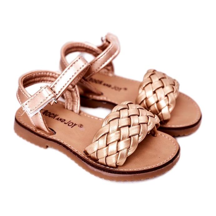 FR1 Sandale pentru copii cu împletit aur roz 283-2B Bailly de aur