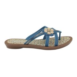 Rider albastru Flip flops pentru copii de pantofi cu o floare la apă Grendha